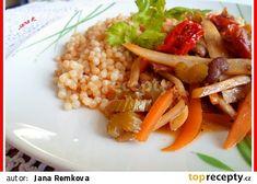 Pečená tarhoňa s restovanou zeleninou recept - TopRecepty.cz Risotto, Chili, Side Dishes, Tacos, Treats, Ethnic Recipes, Sweet Like Candy, Goodies, Chile