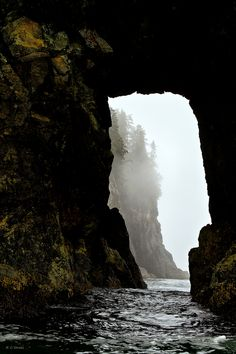 ✯ The Inian Islands of Southeast Alaska sit at the northern entrance into the Inland Passage. This misty view through the arch was captured from a zodiac.:: By Cheryl Strahl ✯