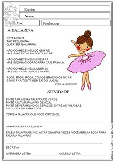 Atividade Alfabetização A BAILARINA Cecília Meireles