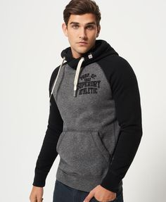 Mens - Applique Baseball Hoodie in Black/blackstone Grit Stylish Hoodies, Unique Hoodies, Hoodie Outfit, Hoodie Sweatshirts, Moda Men, Sport Fashion, Fashion Outfits, Designer Clothes For Men, Mens Clothing Styles