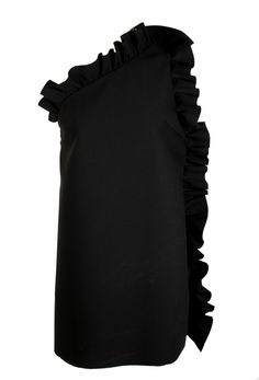 Asymmetrical black dress with ruffle detail side zip closure polyester viscose elastane Ravioli, Detail, Black, Dresses, Women, Vestidos, Black People, Women's, The Dress