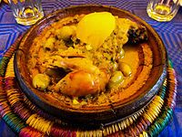 Moroccan Cuisine-- is influenced by Morocco's interactions and exchanges with other cultures and nations over the centuries. Moroccan cuisine is typically a mix of Mediterranean, Arabic, Andalusian, and most importantly, Berber cuisine with a tiny European and Subsaharian influence.