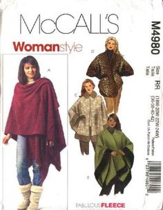 McCall's Sewing Pattern 4980 Womans Plus Size 26W-32W Capes Poncho Ruanas Wraps