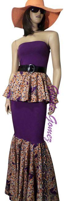 African Print 2-Piece Set Peplum Bustier on Mamiwatah Mermaid Skirt   Ankara And…