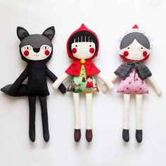 Love this handmade little red riding hood play set on ETSy.