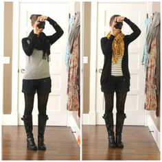 Shorts and tights with long cardi.  Cute on her, might be tricky though.
