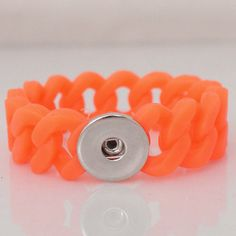 "1 PC Fits 18MM 6"" Neon Orange Rubber Silicone Charm Chunk Pop Charm Silver Snap Popper Fits Bracelet Interchangeable KB9703 CJ0039 Size: 6"" has some stretch Material: silicone rubber and alloy"