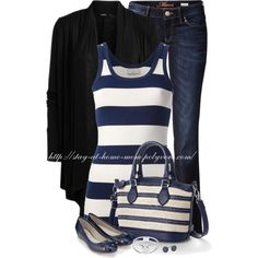 Striped Tank & a Cardigan, created by stay-at-home-mom on Polyvore