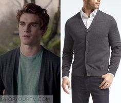 "Riverdale: Season 1 Episode 1 Archie's Grey Cardigan | Shop Your TV Archie Andrews (KJ Apa) wears this dark grey v neck button front cardigan in this episode of Riverdale, ""The River's Edge"". It is the Banana Republic Silk Cotton Cashmere Cardigan."
