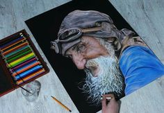 portrait drawing (colored pencils + white acryl)