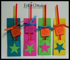 "Student Gifts  I wanted to make my kids a little something to welcome them back to school this year. I found some glow sicks and immedietly thought ""We're going to have a bright year!""        I made a quick sleeve for them (2"" X 11"", folded at 2.5""), stapled them and stuck the glow sticks right in!      I embellished them just a little, because honestly, they are just going to throw all of that away after they get their glow stick! LOL!"