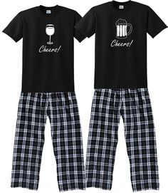 Cheers! WINE GLASS or BEER MUG Matching Couples Pajamas