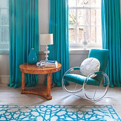 Teal | Turquoise | Bright | Graphic rug | Modern chair | Livingetc