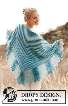 Ravelry: 145-15 Heat Haze - Shawl with lace pattern in Kid-Silk pattern by DROPS design