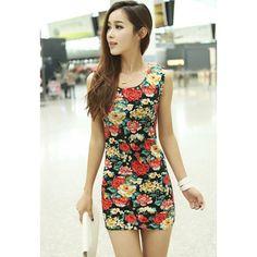 Sleeveless Scoop Neck Floral Print Retro Style Cotton Blend Women's Dress