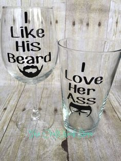 A different spin on the I Like His Beard and I Like Her Butt Glass set. Great for those ladies who have a beard loving man. Give it as a gift Stick N Poke, Tattoos Skull, Cool Tattoos, Best Sleeve Tattoos, Tatoos, Couple Tattoos Love, Couple Tattoo Ideas, Married Couple Tattoos, Tattooed Couples