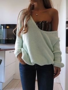Pale blue off shoulder sweater and patterned bandeau