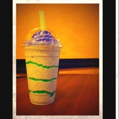 King Cake Frappe from Strange Brew Coffeehouse. Made w real King Cake & homemade purple whipped cream!
