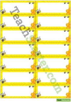 2014 gr 2 busy B's Desk Name Tags – Bees Kindergarten Name Tags, Classroom Name Tags, Classroom Games, Classroom Ideas, Desk Name Tags, Classroom Organisation, Organization, Primary School Teacher, Spelling Bee