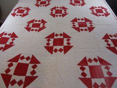 Early 1900s red and white quilt