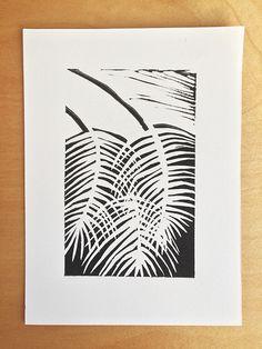 Palm leaves - linocut - by Livia Prudilova