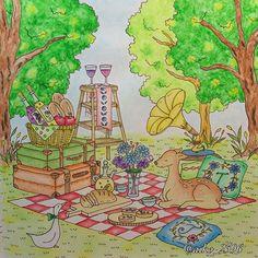 Instagram media aiko_2396 - 久しぶりに。。 ロマンティックカントリー塗りました♪私的にはこの本も難易度高いもの。色合わせが難しい 木の部分もこれまた久しぶりにネオカラー使いました。発色はバッチリなんだけど…ん〜やはり水彩はどうやっていいのか分かりません . 2016.6.19 #大人の塗り絵#塗り絵#ぬり絵#コロリアージュ#ロマンティックカントリー#ネオカラー#ホルベイン色鉛筆#coloring#coloringbook#eriy#romanticcountry