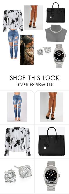 """""""Date night"""" by princesskdot ❤ liked on Polyvore featuring Charlotte Russe, Yves Saint Laurent, Crislu, Rolex and Kate Spade"""
