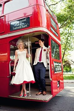 Retro transport! Go patriotic with a red double decker to transport you and your guests.