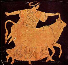 Cerámica griega de figuras rojas. Europa y Zeus.