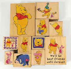 Winnie the Pooh Characters Rubber Stamp Lot of 11 Wood Mounted #AllNightMedia
