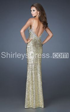 Charming Sleeveless V-neck Long Sequined Dress with Open Back