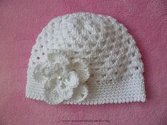 Crochet Child Hats Babymütze Mütze mit Magnolie Baumwolle gehäkelt Crochet Baby Hats