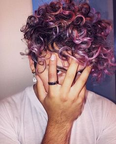 Reinvent your style.Have some fun and give your hair a new look! Here's are 15 Coolest Hair Color Trends of 2020 that you just can't miss. Pink Hair Guy, Curly Pink Hair, Curly Hair Men, Purple Hair, Curly Hair Styles, Hair A, Your Hair, Boys Colored Hair, Colored Curly Hair