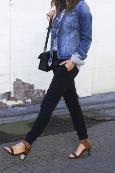 Summer Workwear | The Everygirl | I really love this outfit - so simple - black skinny jogger pants + striped button down + jean jacket