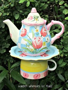 Tulips teapot garden stake by Garden Whimsies by Mary