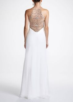 Long Chiffon Prom Dress with Beaded Back Detail - David's Bridal-