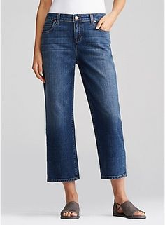 Straight cropped jeans, love to have them.