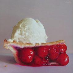 "Daily Paintworks - ""Cherry Pie à la Mode"" by Oriana Kacicek"