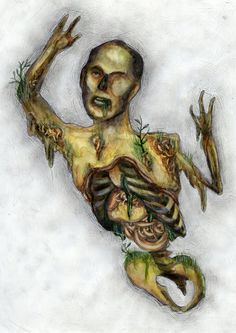 Dorotabo- Japanese folklore: a zombie of an old farmer that emerges from the waist up every full moon
