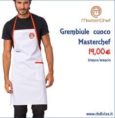 Grembiule cuoco MASTERCHEF bianco/arancio solo a 19,00€. Acquistalo ORA su www.rbdivise.it!