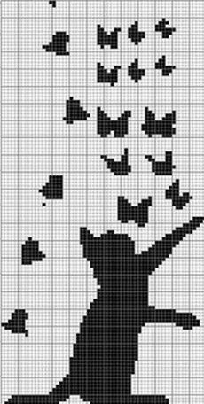 Super Ideas For Embroidery Cat Pattern Crafts Cat Cross Stitches, Cross Stitch Charts, Cross Stitching, Cross Stitch Embroidery, Embroidery Patterns, Hand Embroidery, Cross Stitch Patterns, Knitting Charts, Knitting Stitches