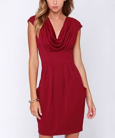 Look what I found on #zulily! Red Drape Neck Cap-Sleeve Dress #zulilyfinds