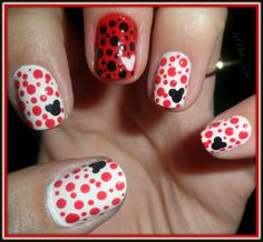 NAILS MICKEY MOUSE red and white lovely - Arte en tus uñas by @Nails_Da Follow on Twitter: https://twitter.com/Nails_Da