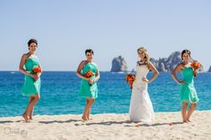 Bride with bridesmaids! I like it when the poses can be relaxed and different. Destination Wedding at Los Cabos Mexico.