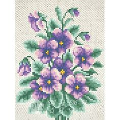 Канва с рисунком для бисера Фиалки Т-0604 #beads #beadwork #embroidery #mimistitch