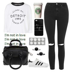 """""""i'm not in love"""" by dianaahnbin ❤ liked on Polyvore featuring Topshop, Pieces, adidas, Casetify, Givenchy, women's clothing, women, female, woman and misses"""