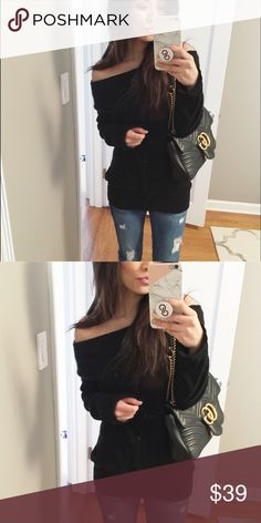 BLACK Cozy Off the Shoulder Soft and cozy, BNWOT. Stretchy material and you can wear the off the Shoulder to your preference. Sweaters Crew & Scoop Necks
