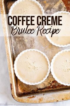 coffee recipe This smooth and creamy coffee creme brle uses espresso powder for the perfect coffee punch. Step-by-step photos help you make this Coffee Creme Brulee. This recipe is an easy, make-ahead dessert that will impress your guests. Make Ahead Desserts, Easy Desserts, Dessert Recipes, Dessert Food, Dessert Simple, Coffee Creme Brulee, Coffee Dessert, Tasty, Yummy Food