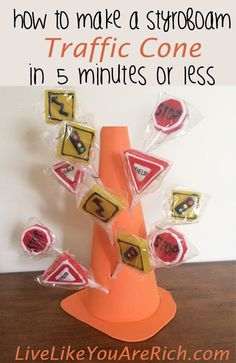 How to Make a Styrofoam traffic Cone -  love this idea! These DIY cones can be used as part of the Blaze party decorations by placing them around the party area or as a table centerpiece which doubles as a candy holder.