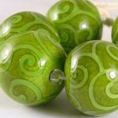 GMD Lampwork Beads GRINCHY GREEN SCROLLS 6 rounds artisan SRA
